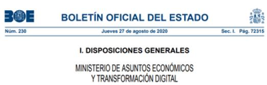 Figura 1: Orden ETD/803/2020, por la que se crea la División Oficina del Dato y la División de Planificación y Ejecución de Programas en la Secretaría de Estado de Digitalización e Inteligencia Artificial