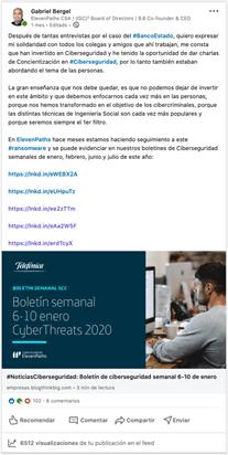 Post de Gabriel Bergel en LinkedIn sobre el ransomware
