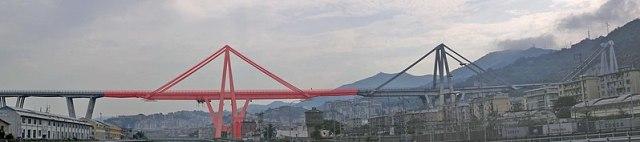Figura 1: Puente Morandi, en rojo, la sección que colapsó