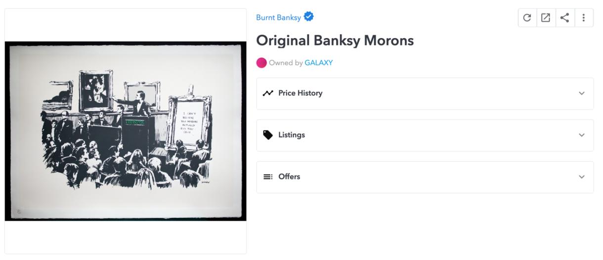 "Figura 2: Subasta de ""Morons"" (Bansky) en OpenSea"